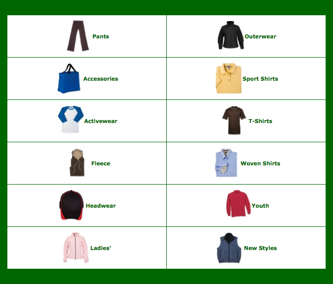 Choose from a range of the latest fashion and premium or economy garments